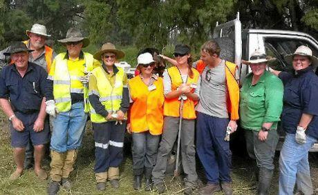 TEAM WORK: Blaze Aid volunteers based in Wowan-Dululu helped Callide Valley farmers mend fencing after summer's floods.