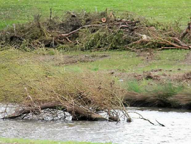 Trees have been removed from the banks of the river.