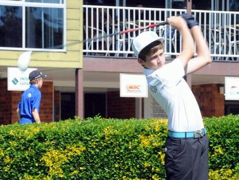 Maryborough Golf Club B-grade champion Harry Law tees off on the tenth hole on Saturday.