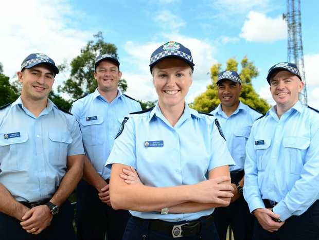 New Ipswich police recruits (front centre), Cathleen Sugden, and (rear from left), Brian Gretch, Daniel Egan, Murray Itiri, and Glen Waugh.