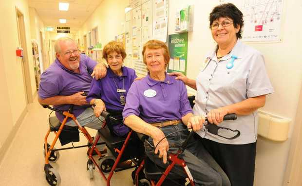 STAYING MOBILE: Grahame Riley, Tina Mammino, Hetty Riley and nurse unit manager Lynn Anderson with the three walkers donated by the Childers Lions Club.