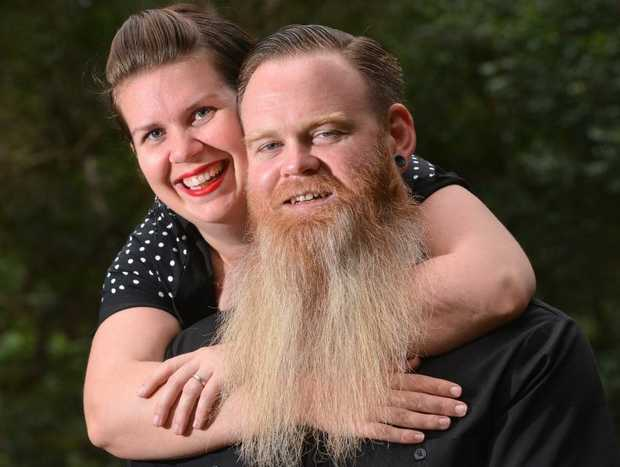 Nathen Coles get the approval from his wife Greta for having a long beard.