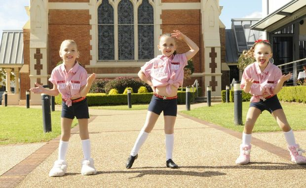 Southern Star Academy of Dance, Dalby dancers rehearse before competing (from left) Abbey Bradley, Ella Lindsay and Emma Donaldson.