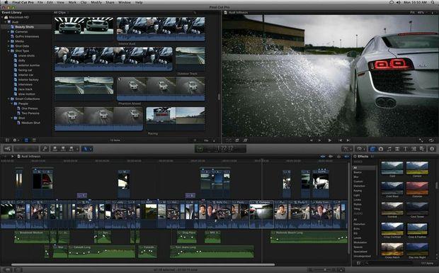Apple's Final Cut Pro uses the familiar iMovie interface.