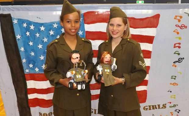 Georgie Bengston and Kallia Banda with their robots.