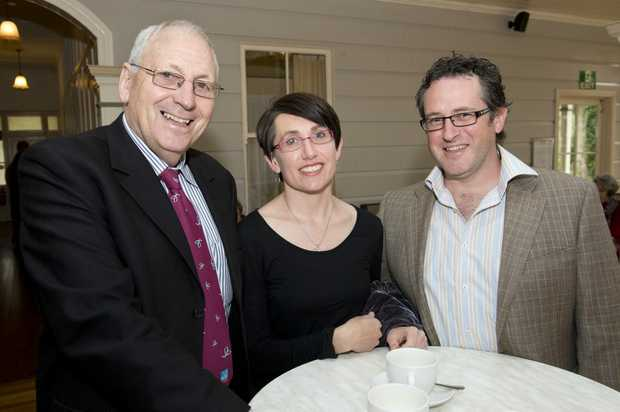 Image for sale: ( from left ) John Gouldson with Sarah and David Beadle. Australia's Biggest Morning Tea for Burstows Funeral Care at Gabbinbah Homestead. Photo Nev Madsen / The Chronicle