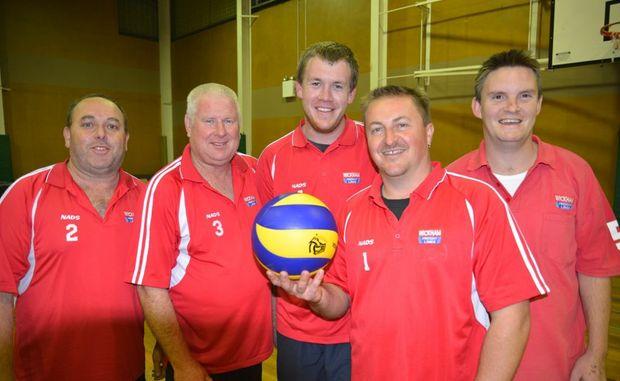 NADS (from left) Darren Burt, Dave Lewis, Matt Pulley, Mark Wickham and Darren Shuptrine won the men's premiership in Warwick volleyball on Monday night.