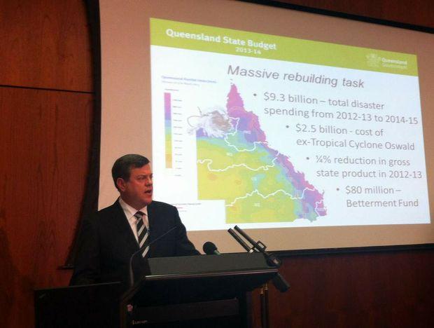 Treasurer Tim Nicholls briefs journalists on the Queensland Budget.