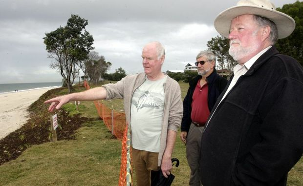 Richard Proudfoot, Ian Bell and John Oxenford look at work being down at Woorim Beach. Photo Vicki Wood / Caboolture News
