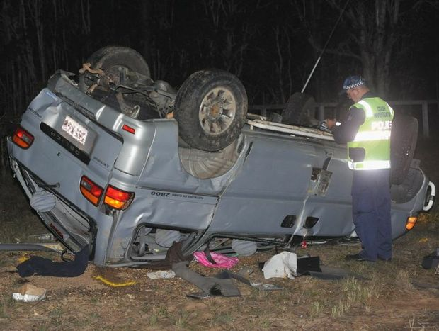 Head of the Wide Bay Forensic Crash Unit Sergeant Steve Webb with a Mitsubishi Delica involved in a two-vehicle crash on Booral Rd near Moorabinda Rd at Nikenbah.