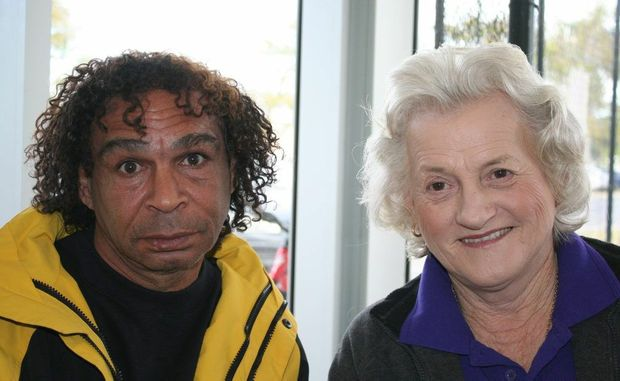 HOME AT LAST: Rockhampton man Ian Gooda and Cr Rose Swadling sit together in perfect harmony, taking up a quick opportunity to smile for the camera. The pair are at the Rockhampton Homeless Connect event.Austin King / The Morning Bulletin