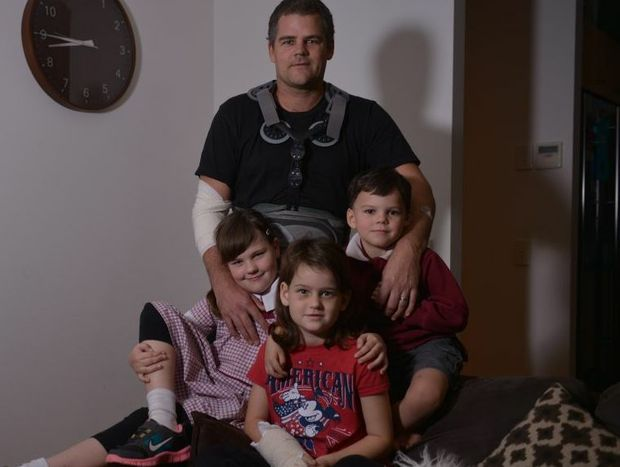 Alex Fraser-Watson and his children Talisa, 9, Meeka, 7 and Joey, 5 at home after they were all involved in a terrible car accident with Chantal Fraser-Watson.