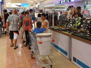 Shoppers flocked to the Boxing Day sales in Hervey Bay yesterday.