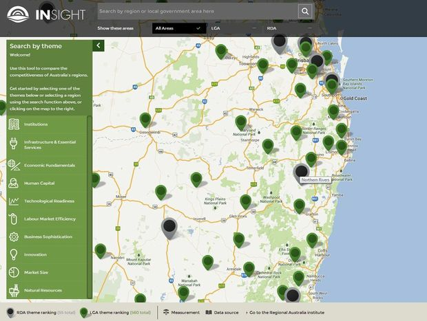 Regional Australia Institute's interactive map