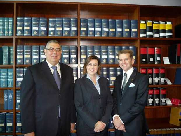 Deputy Chief Magistrate Ray Rinaudo, Magistrate Penelope Hay and Attorney General Jarrod Bleijie at a swearing-in ceremony in Brisbane.