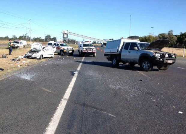 TRAGEDY: The fatal scene at the Capricorn Hwy and Yarrabee Haul Rd on Monday morning.