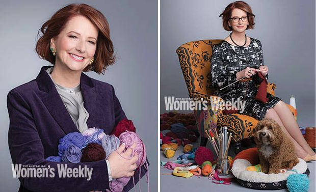 A photo of Prime Minister Julia Gillard knitting has made headlines in Australia and overseas.