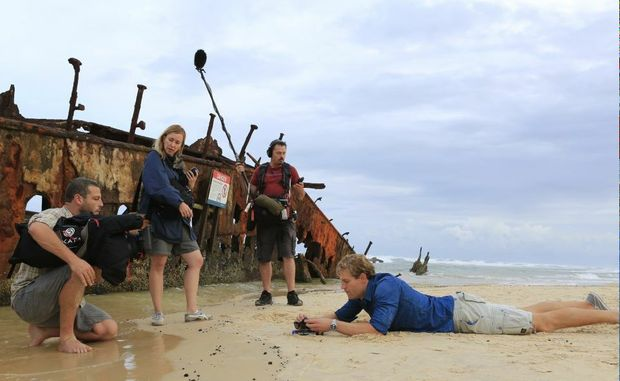 Better known as the Bondi vet, Chris Brown has been on Fraser Island with his crew from Channel Ten lifestyle show The Living Room.