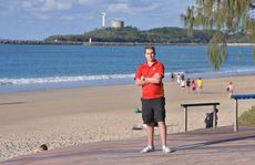 Aaron Purchase where the lifeguard tower at Mooloolaba once stood. Photo: John McCutcheon / Sunshine Coast Daily
