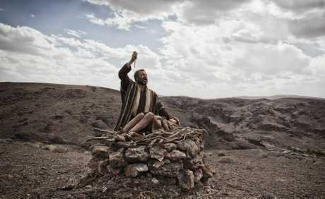 Gary Oliver as Abraham and Hugo Rossi as Isaac in a scene from the TV series The Bible.