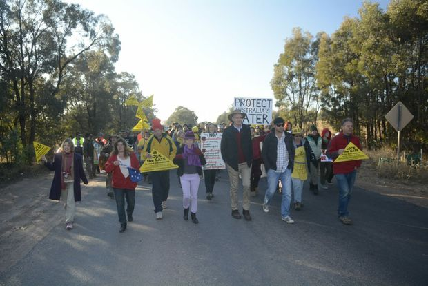 About 150 protesters from across Australia marched to the gates of QGC's Kenya gas field near Tara at the weekend.