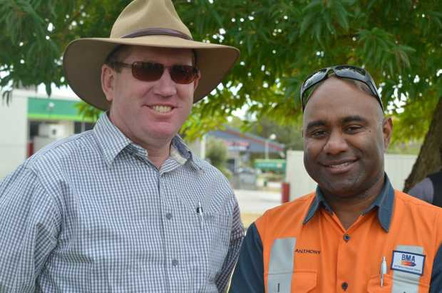 Image for sale: Cr Kev Cracknell and Anthony Quackawoot finding some shade. Photo Meghan Kidd / CQ News