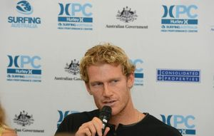 World Tour Surfer Bede Durbidge taking questions from the media.
