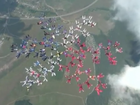 Video: Female skydivers break record for formation jump