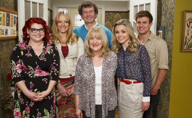 From left, Melissa Bergland, Katherine Hicks, Francis Greenslade (behind), Denise Scott, Sarah Grace and Jack Pearson in a scene from the TV series Winners & Losers.