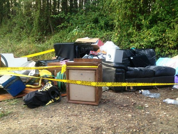 An illegal dumping site on Kyogle Road in the Tweed Shire.