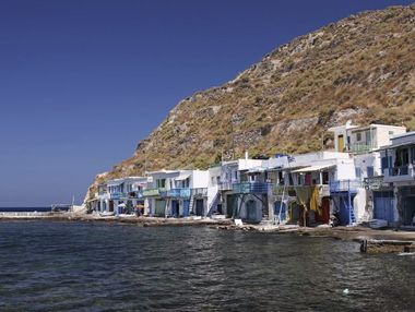 The typical little village of Klima in Milos island (Greece); the ground floor of the housing were used to give shelter to the boats during the winter