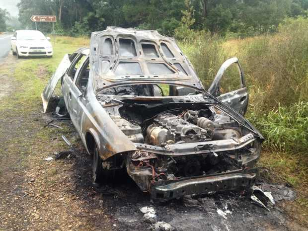 A car which was set alight on the Kyogle Road on Thursday night.