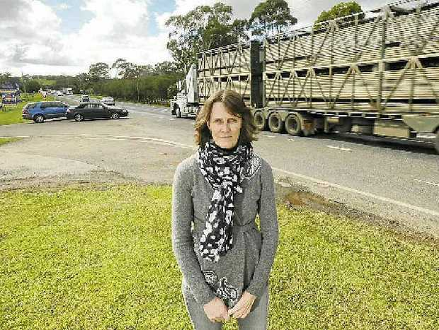 "DANGER STRIP: Helen Simkins, manager of the Macadamia Castle at Knockrow, says, ""It is not always the truck's fault but there is always a truck involved."""