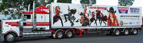Wickham's Freight Lines have Jayne Denham promo trailers.