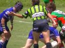 Confrontation between player and referee on football field