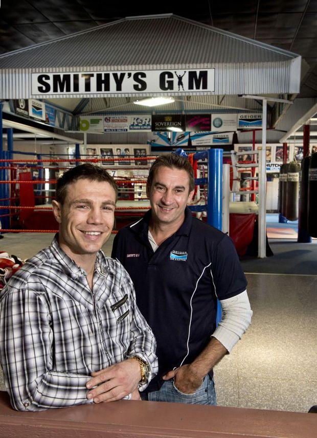 Mick Katsidis and Brendon Smith in Toowoomba today.