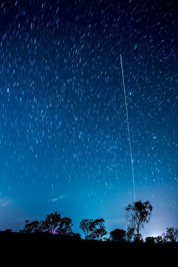 International space station crossing the night sky.