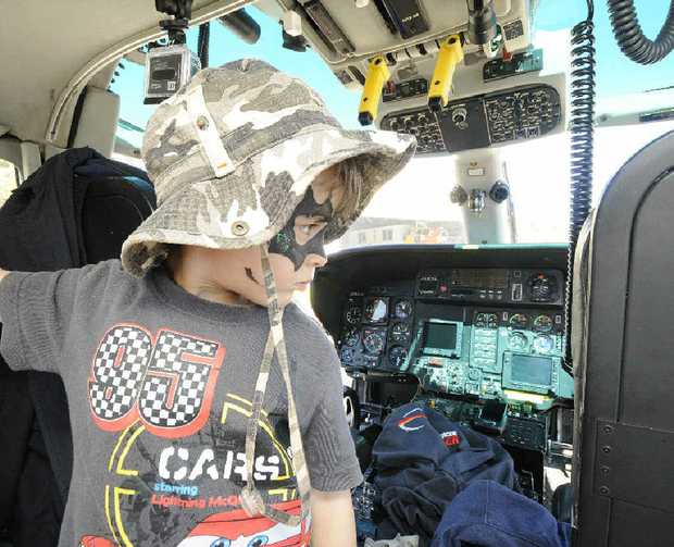 IN CONTROL: Roman Wijeyekoon, 3, of Lismore checks out the cockpit of the Westpac helicopter at their open day.