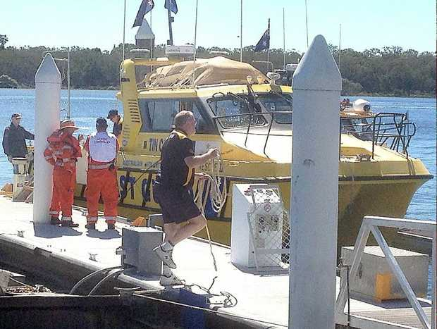 The Coast Guard prepares to search for missing man at Tin Can Bay. The man's body was found on Saturday.