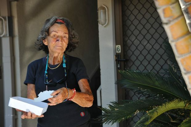Betty Burton from Mooloolaba says the body corporate from her unit block won't fix leaks that are causing her ceiling to flake away. Photo: Iain Curry / Sunshine Coast Daily