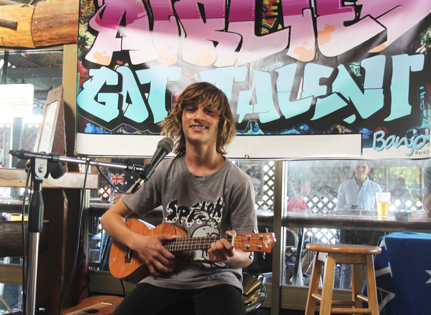 YOUNG GUN: Jake Masson wowed the audience with a brilliant solo acoustic performance on his ukulele of Bruno Mars smash hit Count on Me at the Airlie's Got Talent event at Banjo's on Saturday afternoon.