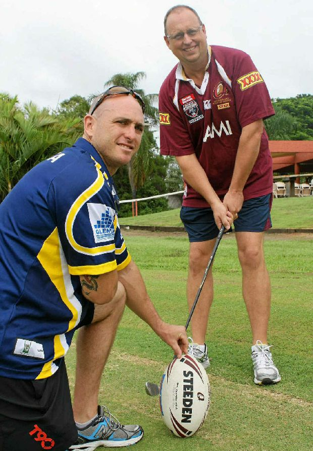 HOME BASED: Andrew Lawrence (right), pictured with RJ Stewart from the Central Highlands Men of League Foundation, is hanging up his hat as the NRL game development officer.