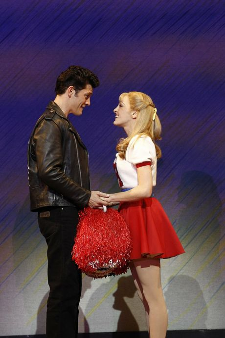 Rob Mills and Gretel Scarlett in a scene from Grease The Musical.