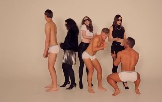 The Auckland law students' tongue-in-cheek parody is accompanied by underpants-wearing blokes.