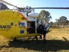 An elderly man has been airlifted to Brisbane after a freak farm accident west of Dalby