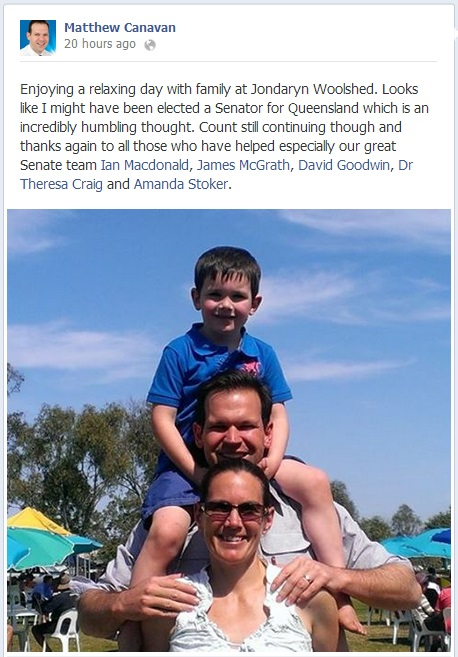 A post on Facebook by Senate candidate Matthew Canavan ahead of his almost-certain win.
