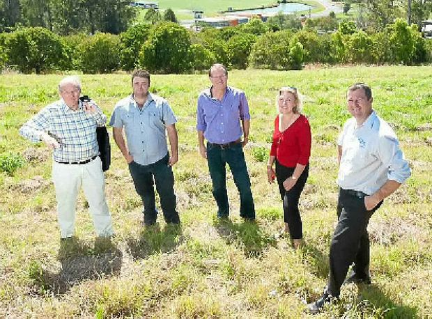 NEW ESTATE: Elements at Coffs Harbour developer Rob Yandell meets with Equinox developer George Daoud, project adviser Richard Arnold and First Nationals' Jenny Bonfield and Shane Hessenberger.