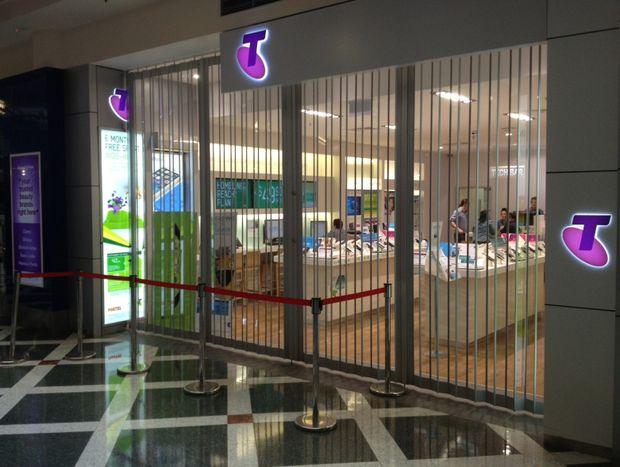 The deceivingly empty entrance to a Sunshine Coast Telstra store before closing time.