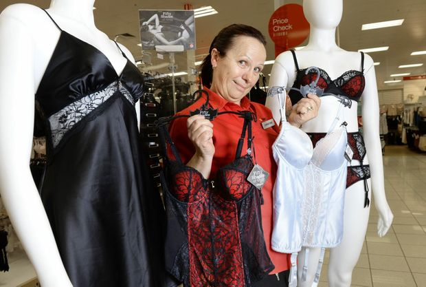 RAUNCHY: Target Ipswich underwear specialist Christine Denton shows off the new range of Fifty Shades of Grey lingerie.