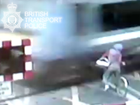 Video reveals cyclist's near miss with a train